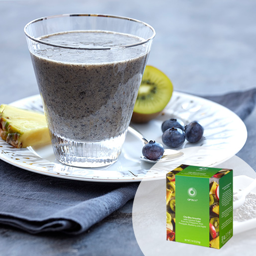 Select Chia Bliss Smoothie with Coconut Sugar from the Philippines; Kiwi; Pineapple; Blueberry; and Apple (Box)